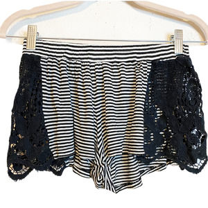 House of WOO California Black Striped Lace Shorts